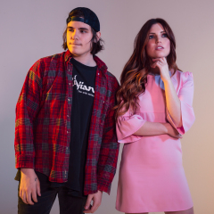 Audien & Sydney Sierota of Echosmith stop by the HollywoodLife studios on March 6, 2019 to promote their new single 'Favorite Sound.'