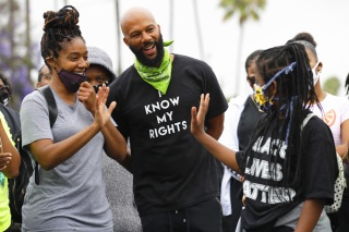 Tiffany Haddish and Common attend a youth-led demonstration calling for an end to racial injustice and accountability for police, in Los Angeles. America Protests , Los Angeles, United States - 20 Jun 2020